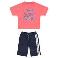 Ensemble avec tee-shirt manches courtes et bermuda avec bande contrastée