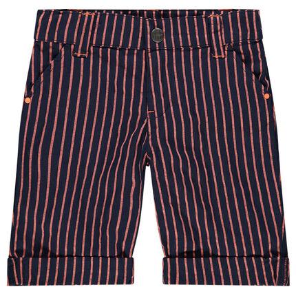 Bermuda en coton à rayures contrastées