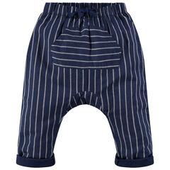 Pantalon forme sarouel à rayures et poche kangourou