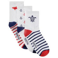 Lot de 3 paires de chaussettes avec motifs jacquard et rayures