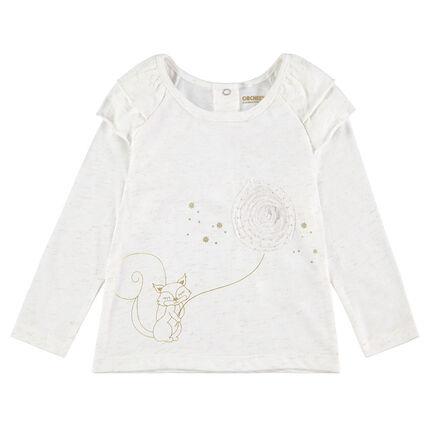 Tee-shirt manches longues en jersey avec écureuil printé