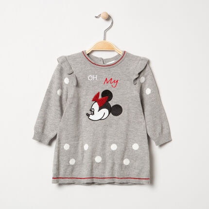 Robe manches longues en tricot broderie Minnie Disney