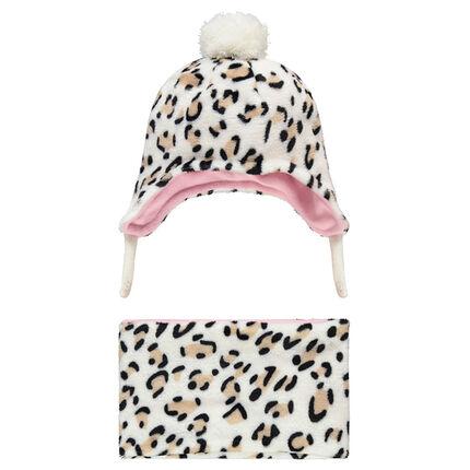 Ensemble bonnet péruvien et snood en sherpa motif léopard