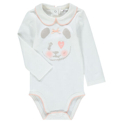 Body manches longues en coton avec panda printé