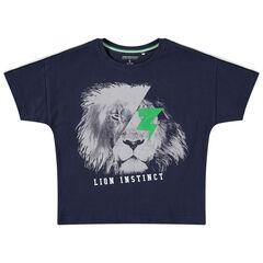T-shirt manches courtes en jersey print lion