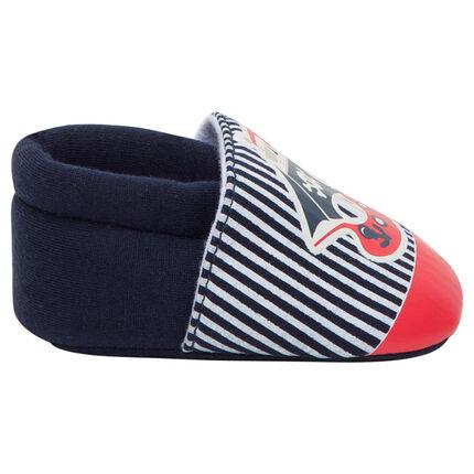Chaussures souples avec rayures et ourson pirate printé
