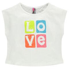 Tee-shirt court en coton avec print fantaisie