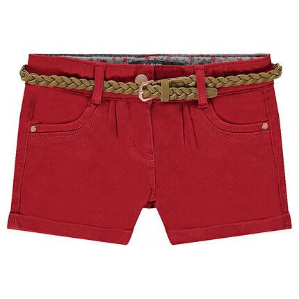 Junior - Short en twill avec ceinture tressée amovible