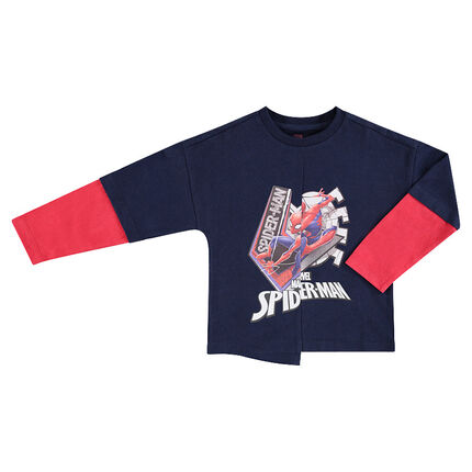 Tee-shirt manches longues effet 2 en 1 print ©Marvel Spiderman