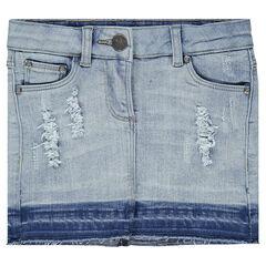 Junior - Jupe en jeans effet used