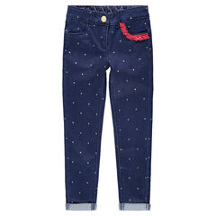 Jeans slim à pois all-over et franges contrastées