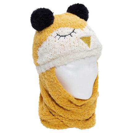 Bonnet écharpe en tricot motif oiseau avec oreilles forme pompons
