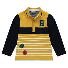 Polo manches longues en jersey avec badges et lettre brodée