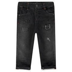 Jeans en molleton effet used à poches