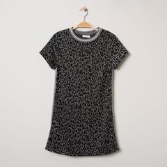Junior - Robe manches courtes en maille à imprimé léopard et bandes