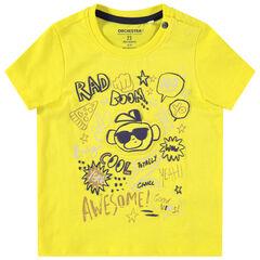T-shirt manches courtes en jersey avec prints en relief sur le devant
