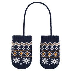 Moufles en tricot avec motif jacquard esprit vintage