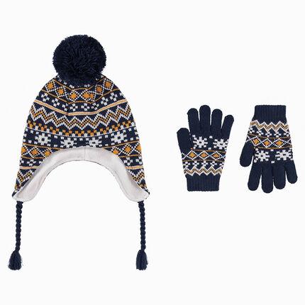 Ensemble bonnet péruvien doublé polaire et gants motifs jacquard