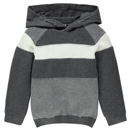 Pull en tricot à capuche et jeu de mailles