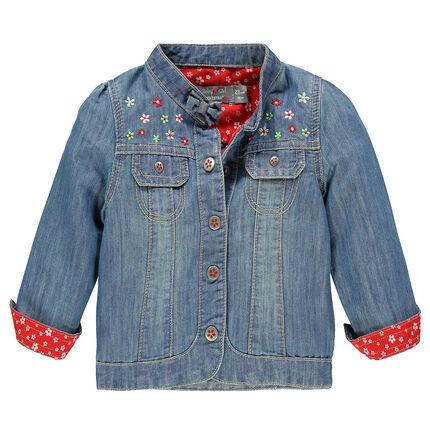 Veste en jeans avec fleurs brodées