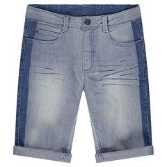 Junior - Bermuda en jean à bandes plus foncées sur les côtés