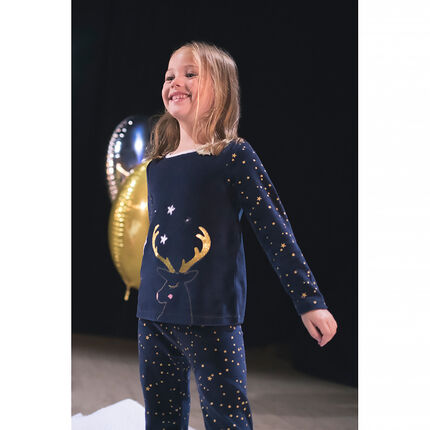 Pyjama en velours esprit Noël avec étoiles printées et renne brodé