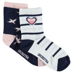 Lot de 2 paires de chaussettes assorties avec oiseaux et rayures