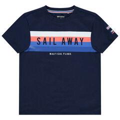 T-shirt manches courtes à rayures contrastées
