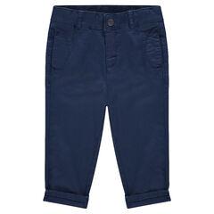 Pantalon en twill surteint uni