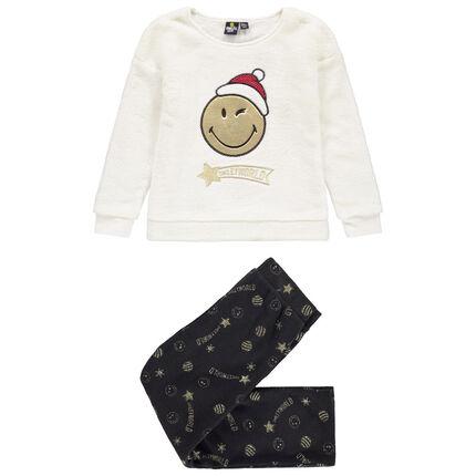 Pyjama en polaire motif Smiley doré brodé
