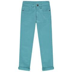 Pantalon en twill à poches effet used et crinkle