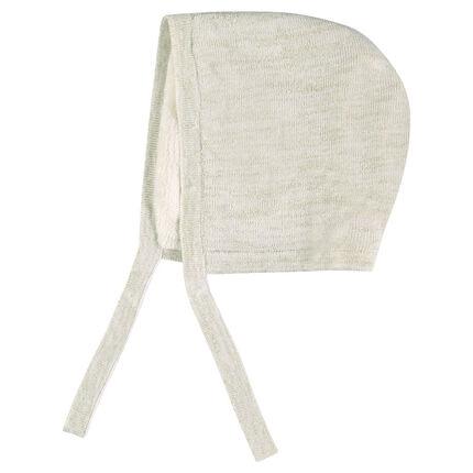 Bonnet en tricot effet brillant doublé sherpa