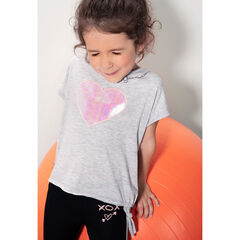 Tee-shirt manches courtes forme boîte avec coeur iridescent patché