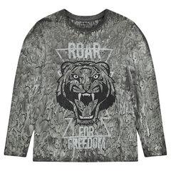 Junior - Tee-shirt manches longues avec tigre printé