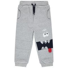 Pantalon de jogging gris chiné avec print monstre