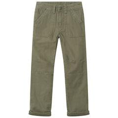 Pantalon droit en twill doublé polaire