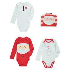 Valisette en carton avec 3 bodies print thème Noël