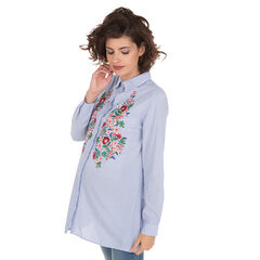 Chemise de grossesse rayée avec broderies florales