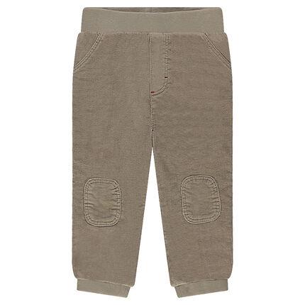 Pantalon en velours avec taille élastiquée et genouillères