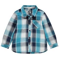 Chemise manches longues à carreaux et poche