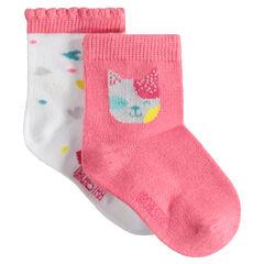 Lot de 2 paires de chaussettes assorties avec chat et coeurs en jacquard