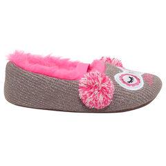 Chaussons bas en tricot brillant avec doublure en fausse fourrure rose