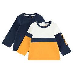 Lot de 2 Tee-shirts manches longues en jersey uni / contrasté avec print