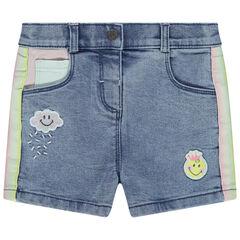 Short en jean effet used à bandes contrastées et Badges Smiley