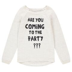 Junior - Pull en tricot avec texte printé