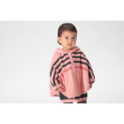 Cape à capuche en tricot avec doublure en sherpa et rayures en jacquard