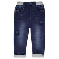 Jeans en denim like avec ceinture élastiquée en bord-côte rectiligne
