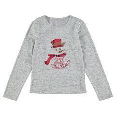 Junior - Tee-shirt de Noël manches longues avec bonhomme de neige patché et brodé