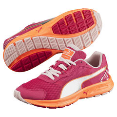 PUMA - Baskets basses à lacets coloris fushia et orange
