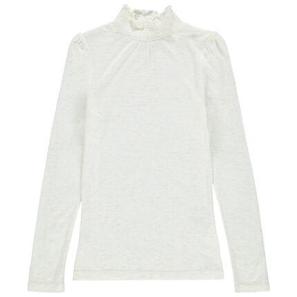 Junior - Sous-pull col roulé smocké en jersey chiné